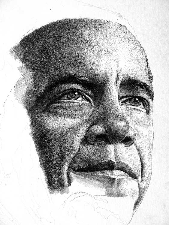 Barack obama jeffery henderson b 0 zero august 4 1961 pendrawing 40 x 50 centimeters black white barack obama jeffery henderson b 0 zero while